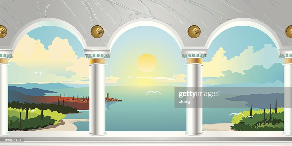 Arch Gallery & Landscape View : stock illustration