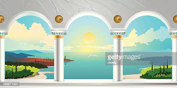 arch gallery & landscape view - architectural feature stock illustrations, clip art, cartoons, & icons