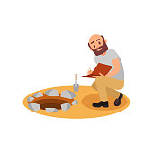 Archaeologist sitting near pit and making notes in folder. Bald-headed man with beard. Archaeological excavations. Flat vector design