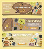Archaeology vector banners web templates