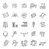 archeology line icons set