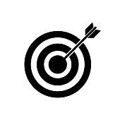 Archery arrow in target, bulls eye vector icon simple design