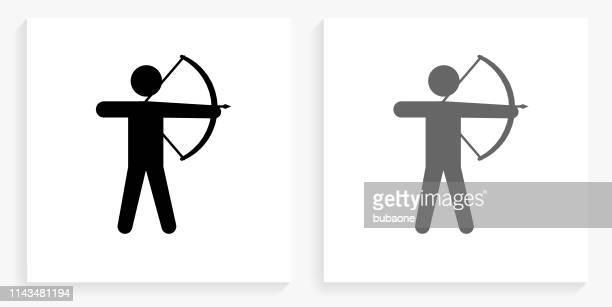 archery black and white square icon - archery stock illustrations