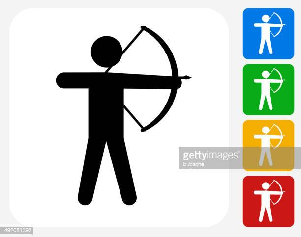 archery icon flat graphic design - shooting a weapon stock illustrations, clip art, cartoons, & icons