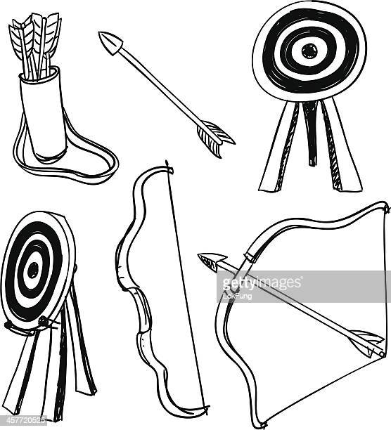 Archery icons in black and white