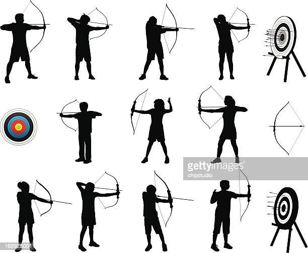 archery silhouettes - archery stock illustrations