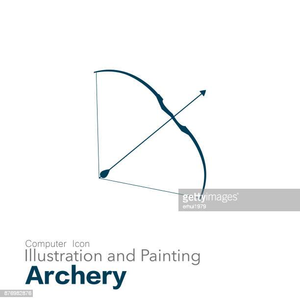 ilustraciones, imágenes clip art, dibujos animados e iconos de stock de tiro con arco - arco y flecha