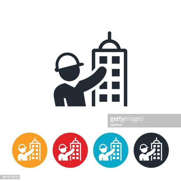 ilustraciones, imágenes clip art, dibujos animados e iconos de stock de arquitecto y edificio icono - ingeniero civil
