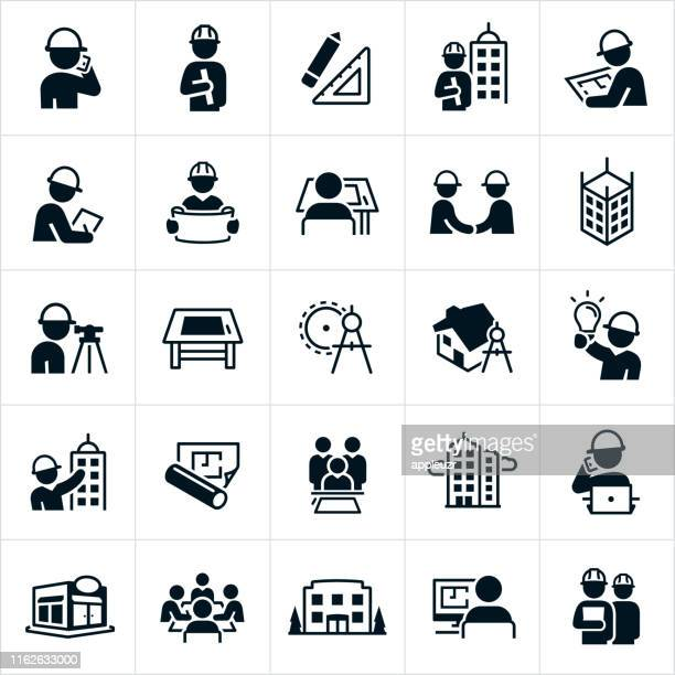 architect icons - construction industry stock illustrations