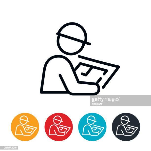ilustraciones, imágenes clip art, dibujos animados e iconos de stock de el arquitecto revisando planos icono - ingeniero civil