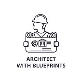 architect with blueprints vector line icon, sign, illustration on background, editable strokes