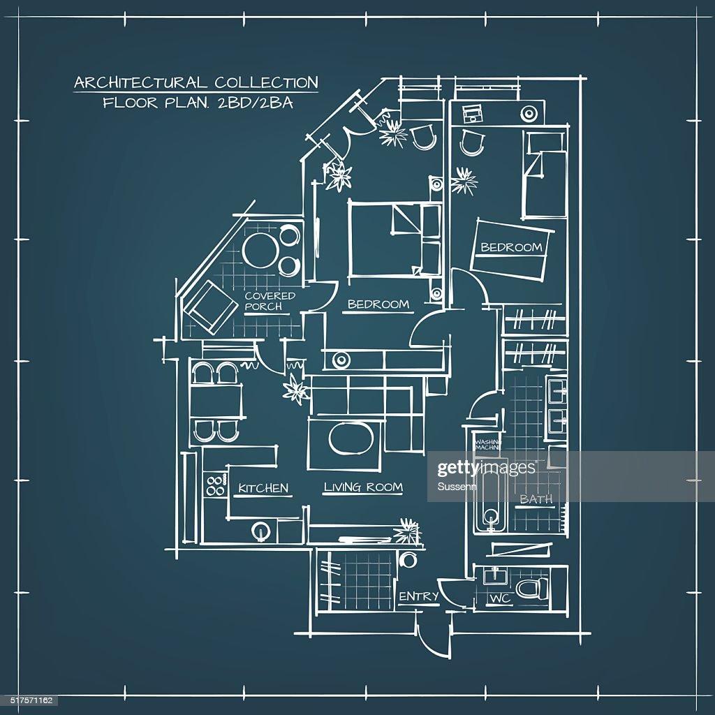 Architectural blueprint floor plan vector art getty images architectural blueprint floor plan vector art malvernweather Images
