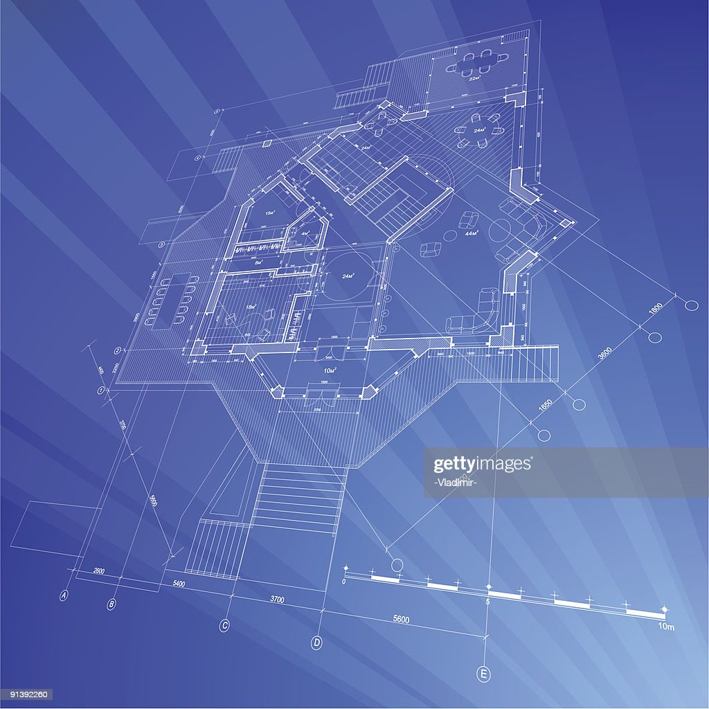 Architectural blueprint plan of the house vector art getty images architectural blueprint plan of the house vector art malvernweather Image collections
