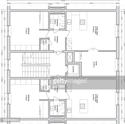 Architectural drawing of a apartment building vector art for Apartment building drawing