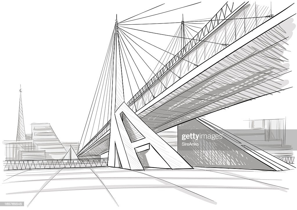 Architectural drawing of a bridge