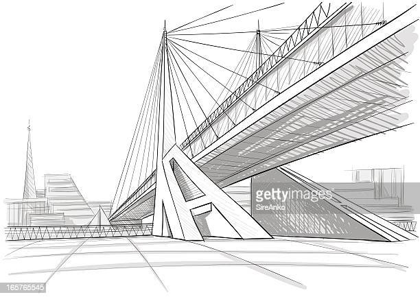 architectural drawing of a bridge - bridge built structure stock illustrations, clip art, cartoons, & icons