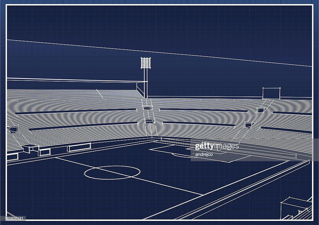 Architectural drawing of a football soccer stadium