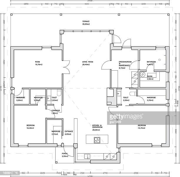 architectural drawing of a house - blueprint stock illustrations