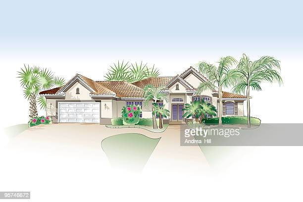 architectural drawing - southern style home - palmetto florida stock illustrations