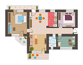 Architectural flat plan top view with living rooms bathroom kitchen and lounge furniture vector illustration