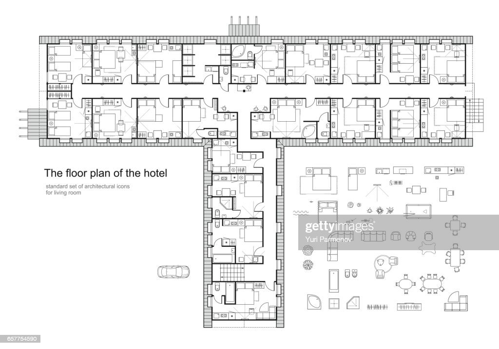 Architectural plan of a hotel. Standard furniture symbols set.