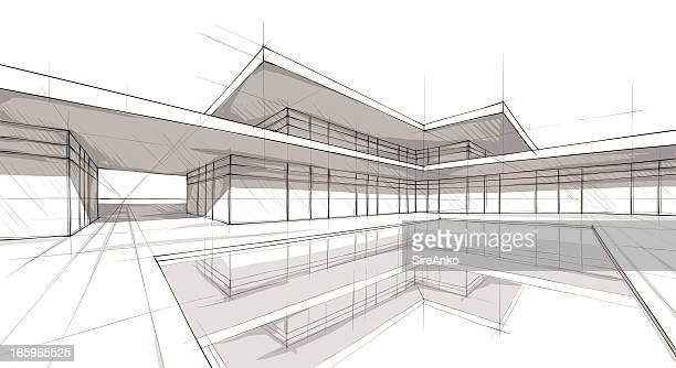 Architectural rendering of modern building with sharp angles