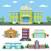 Architectural School Buildings Set