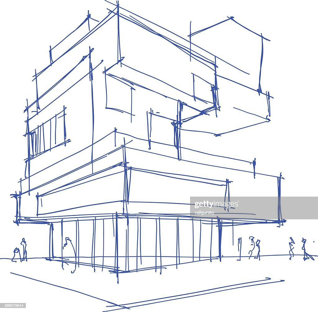architectural sketch of a modern building