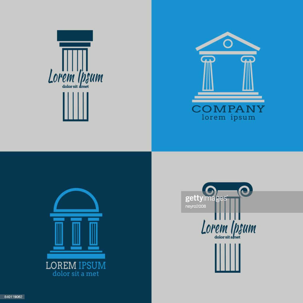 Architectural vector logo templates with columns
