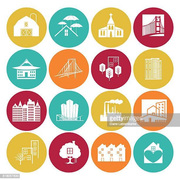 ilustraciones, imágenes clip art, dibujos animados e iconos de stock de conjunto de iconos de ingeniería y arquitectura en un círculo base plana - actividad