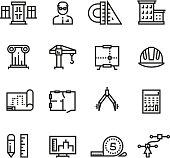 Architecture, building planning, house construction line vector icons set