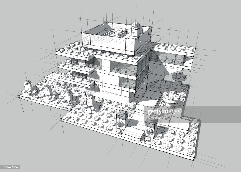 Architecture from white plastic blocks.
