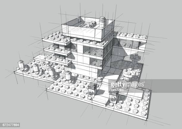 architecture from white plastic blocks. - architecture stock illustrations, clip art, cartoons, & icons