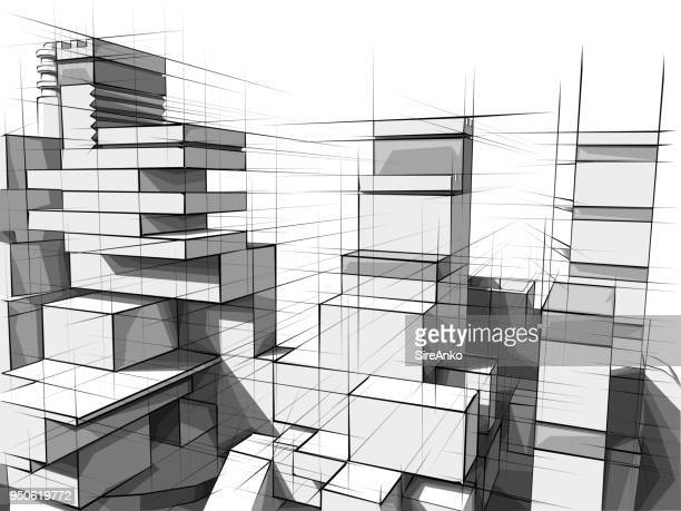 architecture from white plastic blocks. - building block stock illustrations