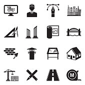 Architecture Icons. Black Flat Design. Vector Illustration.