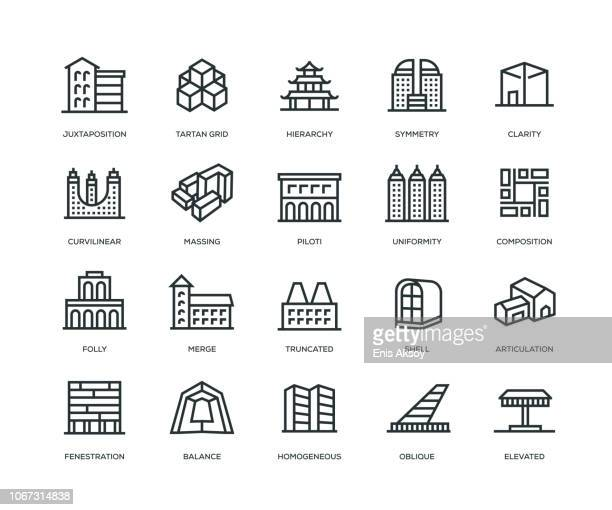 architecture icons - line series - mass stock illustrations