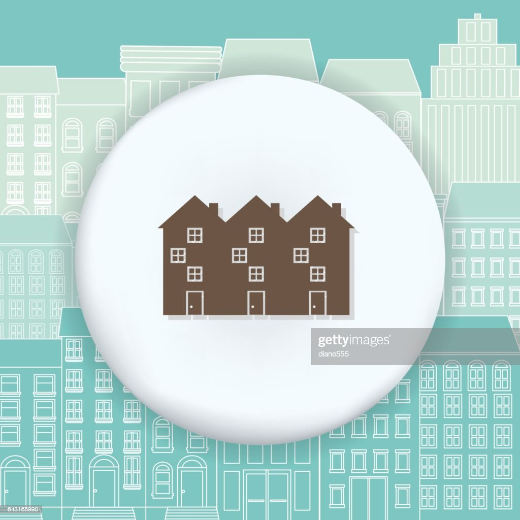 Architecture Icons Over a Cityscape : stock illustration