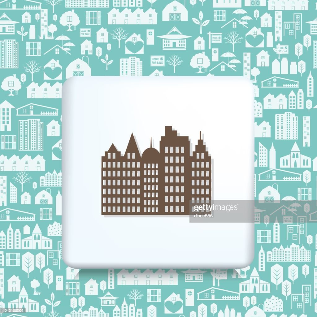 Architecture Icons Over a Real Estate Pattern Background : stock illustration