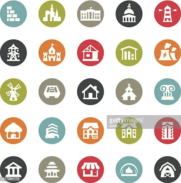 architecture icons / ringico series - temple building stock illustrations, clip art, cartoons, & icons