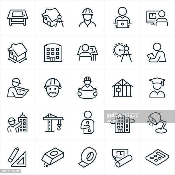stockillustraties, clipart, cartoons en iconen met het platform pictogrammen - architect