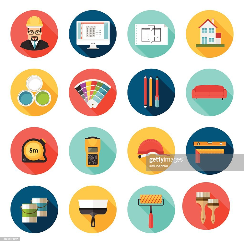 Architecture, Interior design and repairs vector icons set