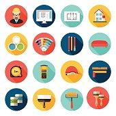 Architecture, Interior design and repairs vector icons set