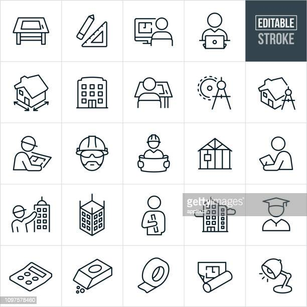 architecture line icons - editable stroke - building stock illustrations