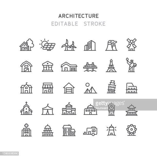 architecture line icons editable stroke - international landmark stock illustrations