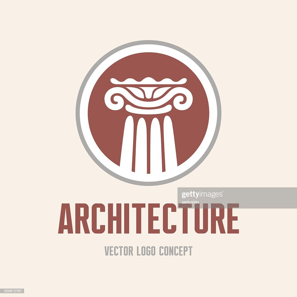 Architecture - logo concept. Antique column abstract sign.