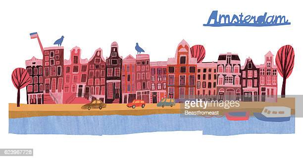 architecture of amsterdam - amsterdam stock illustrations, clip art, cartoons, & icons