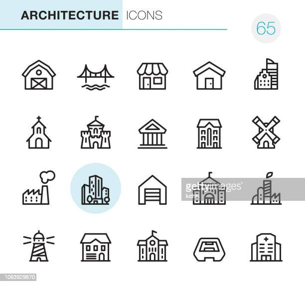 architecture - pixel perfect icons - human settlement stock illustrations