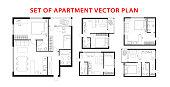 Architecture plan set of apartment, studio, condominium, flat, house.