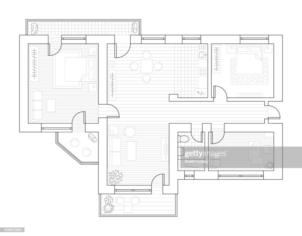 Architecture plan with furniture in top view. Coloring book