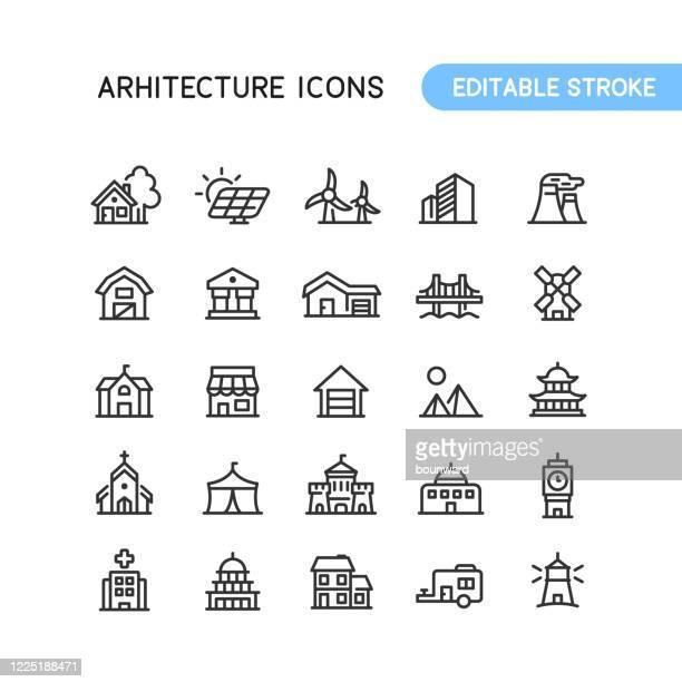 illustrazioni stock, clip art, cartoni animati e icone di tendenza di architettura immobiliare costruzione outline icone tratto modificabile - casa